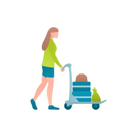Woman with trolley in airport at flat vector illustration. Tourist girl walking at the airport and pushing a cart with luggage. Female traveller on the trip walking to departure area before flight.