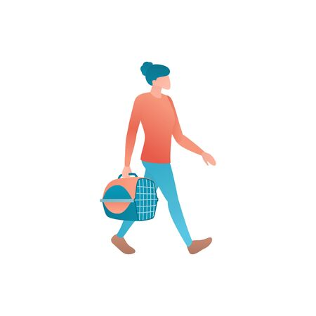 Flat vector illustration of safely pets transportation. Tourist woman walks in the airport terminal for boarding and carry pet-carrier. Cartoon image of a hiker with a hand luggage isolated on white.