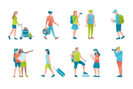 Turists at vector flat illustration set. Travellers at the airport are photo shooting, carrying luggage and holding the travel map. Concept set of globetrotter people on a white background.