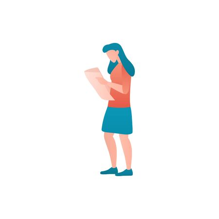 Gradient flat vector illustration of a woman hiker. Girl traveller at holiday walks and reads a tourist map. Gradient cartoon concept of female traveller at trip against an isolated white background. Vector Illustration