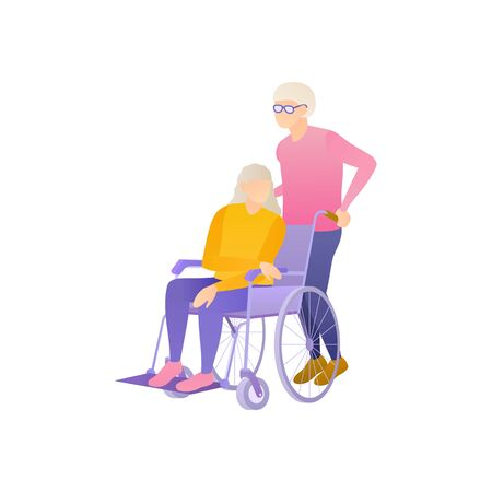 An elderly people in a wheelchair, flat vector illustration. Injured elderly woman in hospital. Older people care about each other in a nursing home at isolated illustration on a white background.