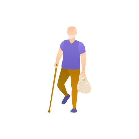 An elderly man with a cane, flat vector illustration. Illustration