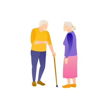 Two elderly people in full height, vector flat illustration. An elderly man and a woman discuss the social problems of pensioners. Grizzled or Gray grandparents on white, isolated background