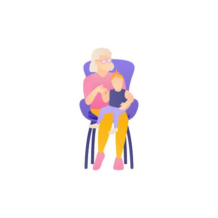 Grandchildren and grandmother together, flat vector illustration. Old aged woman takes care and fun the baby. An elderly gray-haired mother plays and hugs the toddler at isolated white background.