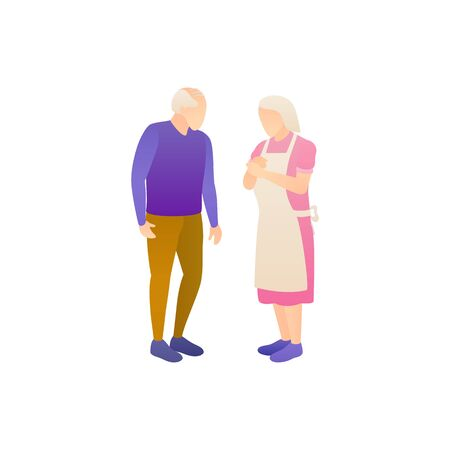 Husband and wife pensioners, flat vector illustration. 일러스트