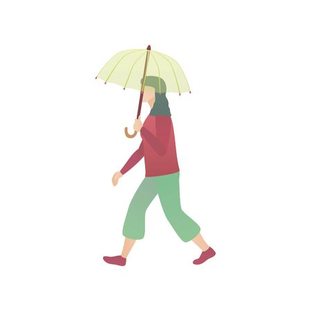 A woman with an umbrella, flat vector illustration. A girl walks through the park while raining. A young lady stroll with a parasol on the street on isolated white background. Çizim