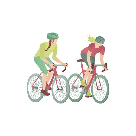 Two girls on bicycles, flat vector illustration. Women in the park race by mountain bikes. Two cyclists compete in cycling and ride on the track for bicycles isolated on white background. Ilustrace