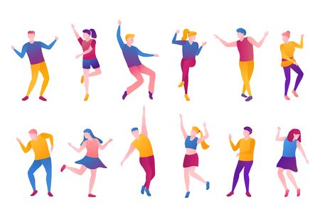 People nightlife set, flat vector illustration. Adult man boys and girls clubbers in bright clothes movement at party. A group of men and women is dancing and moves on an isolated white background.