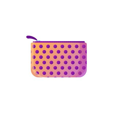 Stylish polka dot makeup bag. Fashionable cosmetic product element, isolated on white Vektorové ilustrace