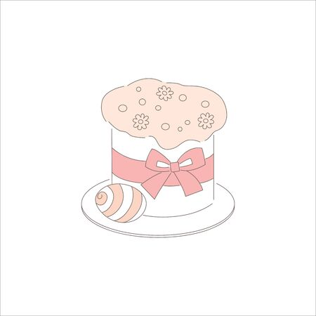 Easter day holiday traditional sweet bakery product. Food cooking on spring celebration.Hand drawn doodle cake and egg, isolated on white. Design element, line art, editable stroke.Vector illustration