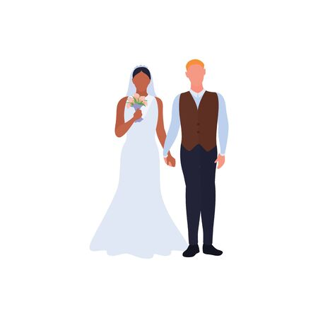 Beautiful young bride and groom, love couple holding hands on wedding day. African american woman in wedding dress with flowers bouquet. Caucasian groom in suit. Bridal ceremony. Vector illustration