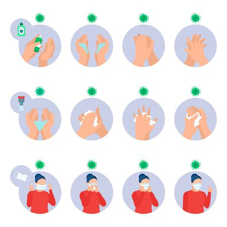 Infographic, coronavirus prevention. Wearing protective mask and washing hands properly. Healthcare icons set. Hygiene poster, sequence instruction template. Covid-19 pandemic. Vector illustration Illustration