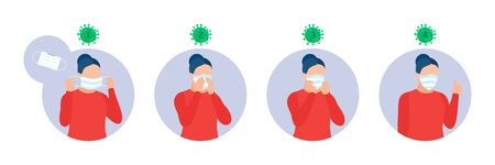 Infographic, how use mask properly. Instruction for personal hygiene during coronavirus. Healthcare concept banner. Covid-19 prevention, Cartoon woman wears a protective mask. Flat vector illustration Ilustración de vector
