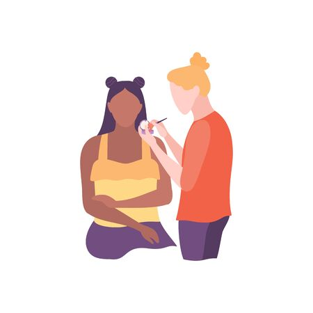 Beauty female stylist making makeup for african american girl. Glamour woman character with cosmetic brush and powder, isolated on white background. Visagist at work. Flat style vector illustration  イラスト・ベクター素材