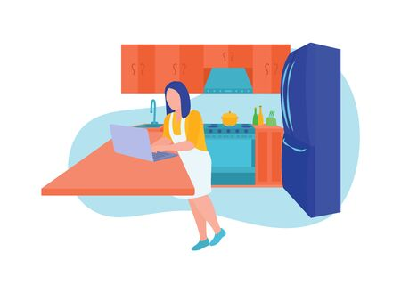 Remote worker at kitchen doing work, use laptop. Female freelancer character working online at home. Freelance concept. Housewife combines works and household chores. Trendy flat vector illustration