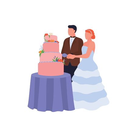 Newlyweds cut wedding cake at bride ceremony. Groom and bride holding knife. Love couple isolated on white background. Cartoon characters on wedding day. Bridal party. Flat vector illustration