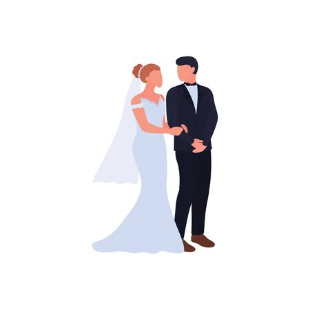 Bride and groom, wedding ceremony. artoon couple in love getting married, isolated on white background. Female character in fashion wedding dress and veil. Handsome man in suit. Vector illustration