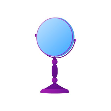 Simple high stand table mirror. osmetic product element template in gradient color style Make-up icon, isolated on white. Fashion makeup mirror, round shape, dual sided. Flat vector illustration