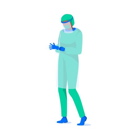 Male character wearing full protective suit, isolated on white background. Medical staff in mask and glasses. Virus attention and disinfection concept. Healthcare, work safety.Flat vector illustration
