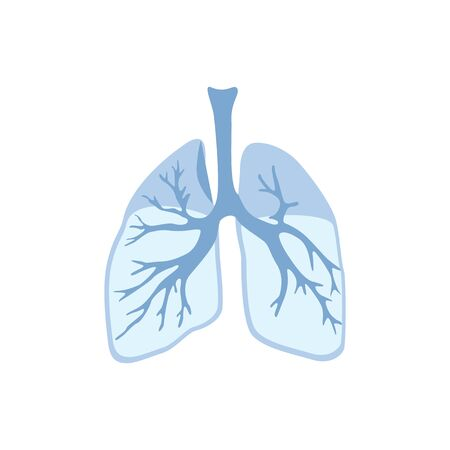 Lungs icon, isolated on white background. Internal organs of human design element. Anatomy, part of body. Respiratory system, breathing. World tuberculosis day. Trendy flat vector illustration