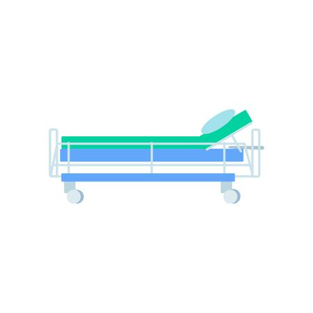 Hospital furniture, medical bed, isolated on white background. Medical equipment icon of clinical instrument. Cartoon stretcher. Part of hospital equipment. Healthcare element.Flat vector illustration