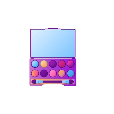 Cartoon eyeshadow palette with different colors. Cosmetic product element template in gradient color style, isolated on white background. Mirror and eyeshadow brush included. Flat vector illustration Illustration