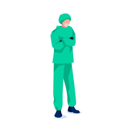 Medical professional in protective suit and mask, isolated on white background. Male surgeon doctor in uniform. Treatment and healthcare. Cartoon specialist helps people. Flat vector illustration