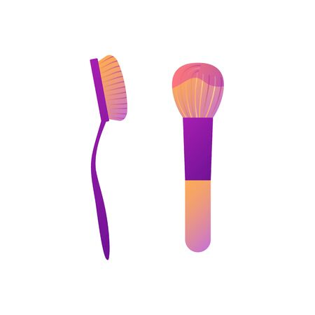 Set of makeup brushes for powder and tone, in gradient color style. Stylish cosmetic product template, isolated on white background. Two elements of personal care. Fashion flat vector illustration