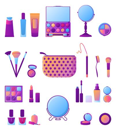 Collection of various makeup produce, isolated on white background. Set of different simple blush, brush and mirror. Cosmetic product element in gradient color style. Trendy flat vector illustration