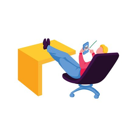 Man shops online through smartphone. Male character sitting on the chair and uses personal device, isolated on white background. E-commerce, mobile store, shopping concept. Flat vector illustration Illustration