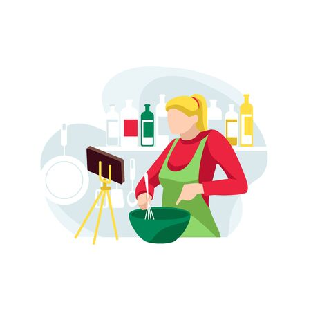 Woman food blogger records new recipe for subscribers. Concept of online cooking courses. Female character mixes ingredients for dish in kitchen. Video content creation. Flat vector illustration