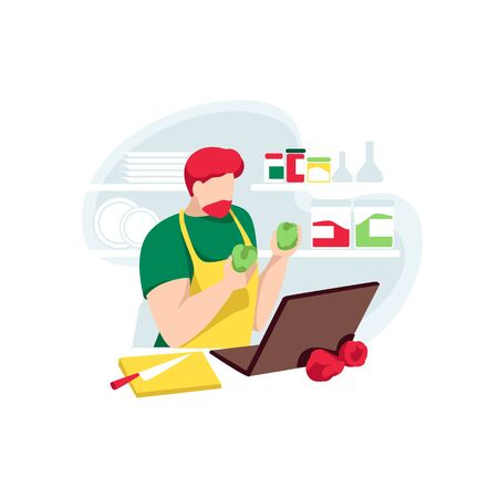 Male chef records online recipes on channel. Food blogger make internet courses for followers. Cooking coach man preparing food on kitchen, isolated on white background. Flat vector illustration