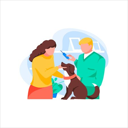 Veterinary examining dog, isolated on white background. Woman client brought pet to vet. Animals protection. Vet clinic interior. Doctor vaccinates animal against diseases. Flat vector illustration Illustration