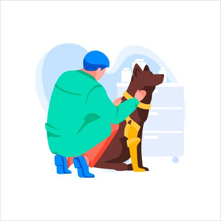 Male character in uniform examines large dog. Doctor treats and cares for pets. Animal protection and medical care. Veterinary consultation.Man works in vet clinic or hospital.Flat vector illustration