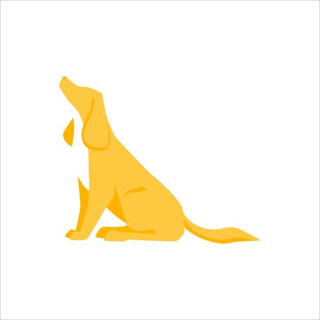 Domestic animal. Beautiful cartoon pet sitting. Cute dog silhouette, isolated on white background. Mammal animal. Thoroughbred yellow puppy. Design element or icon. Trendy flat vector illustration