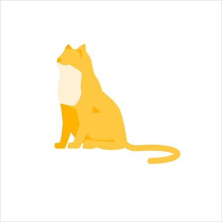 Beautiful cartoon pet sitting. Elegant yellow cat silhouette, isolated on white background. Mammal animal. Design element or icon. Cute domestic animal. Side view. Trendy flat vector illustration