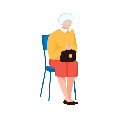 Grandmother sitting on chair. Elderly character, isolated on white background. Old woman waiting in line for reception. Cute aged lady with handbag. Hospital waiting room. Flat vector illustration
