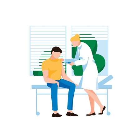 Doctor injecting flu shot vaccine to patient arm. Male character at hospital reception. Concept of virus protection, vaccanation and medichine. Viruses and disease prevention. Flat vector illustration