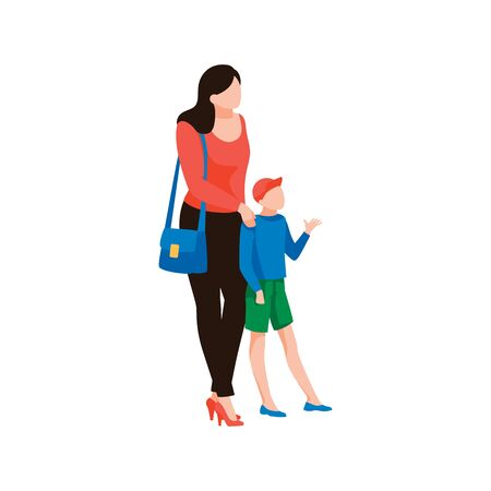 Young mother with son, isolated on white background. Child with parent waiting for doctor. Female character with kid are in full growth. Family, motherhood and parenthood. Flat vector illustration