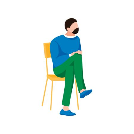 Handsome man waiting for doctor. Male character sits in queue. Cartoon human sits on chair, isolated on white background. Adult person dressed in casual style. Trendy flat vector illustration