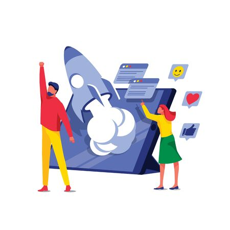 Businessman rejoices in launching new project. Teamwork, startup and e-commerce. Digital marketing promotion, online business and social media. Taking off rocket on tablet screen. Vector illustration Illustration