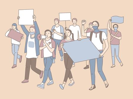 Young men and women holding banners in hands and protesting. Students activists with empty placards. Demonstration, political protest, activism, voting concept. People crowd. Flat vector illustration