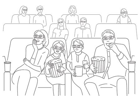 Happy family sitting at cinema or movie theater. Parents with children watching 3d movie or cartoon together. Concept of family pastime. Editable stroke vector illustration.