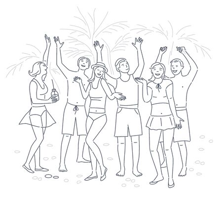 Young people dancing on beach. Cartoon characters in beachwear. Summer time concept. Happy caucasian adults on ocean shore. Editable stroke Vector illustration