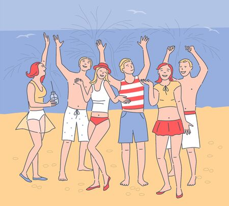 Young people dancing on beach. Cartoon characters in beachwear. Girls,boys listening music and drinking on beach party. Summer time concept. Happy caucasian adults on ocean shore. Vector illustration
