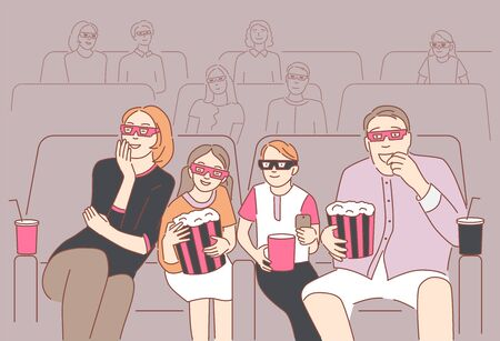 Happy family sitting at cinema or movie theater. Parents with children watching 3d movie or cartoon together. Daughter and dad eat popcorn.Concept of family pastime.Front view.Flat vector illustration