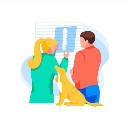 Veterinarian shows an X-ray picture of owner. Man took dog for inspection. Concept of medical help, animal protection and vet clinic. Treatment disease and rehabilitation. Flat vector illustration