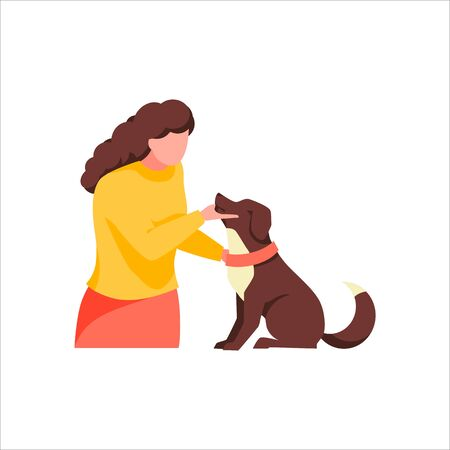 Owner with pet, isolated on white background. Female character play with dog. Cute woman stroking friendly brown puppy. Cartoon girl examines her domestic animal. Trendy flat vector illustration Illustration