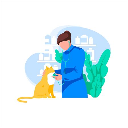 Doctor with stethoscope examines cat, interior wit furniture on background. Medicine and pet care. Veterinarian with pet at vet clinic. Animal protection, treatment disease.Flat vector illustration