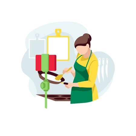 Cooking coach cooks, scene on kitchen. Woman records online recipes on smartphone. Female chef cook pancakes live and create video content. Food blogger streaming from home. Flat vector illustration